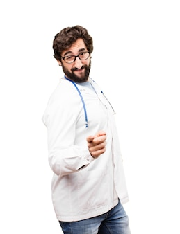 Junger doktor mann tanzen