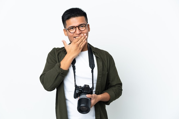 Junger ecuadorianischer fotograf isoliert