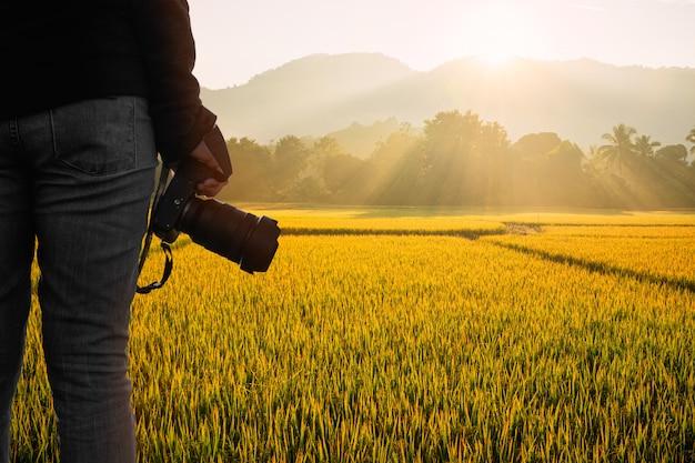 Junger fotograf, der die kamera mit sonnenreis auf natürlichem hintergrund des reisfeldes hält.