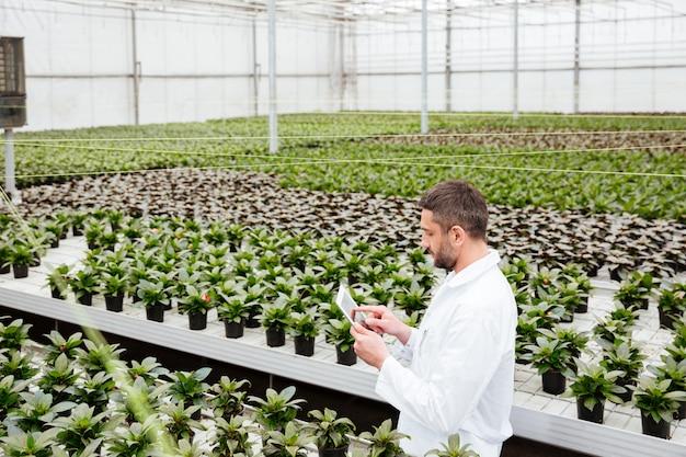 Junger gärtner, der mit pflanzen im gewächshaus arbeitet