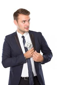 Junger geschäftsmann mit dollar auf seinen händen