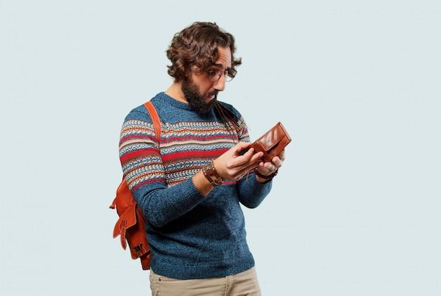 Junger hippiemann mit einer mappe
