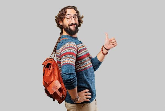 Junger hippiemann okay oder zeichen in ordnung