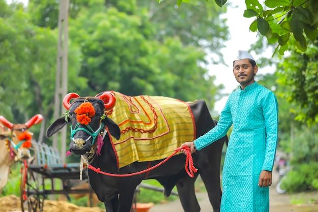 Junger indischer bauer, der polafest feiert