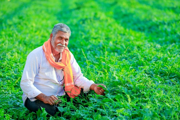Junger indischer landwirt am feld.