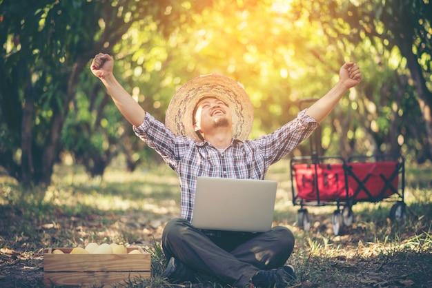 Junger intelligenter landwirt, der mit tablette im mangoobstgarten, landwirtschaftliches bisiness konzept arbeitet