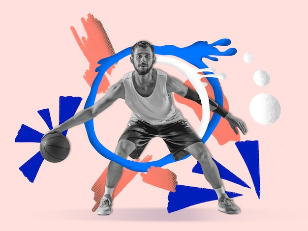 Junger männlicher basketballspieler mit bunten kunstzeichnungen im comic-stil