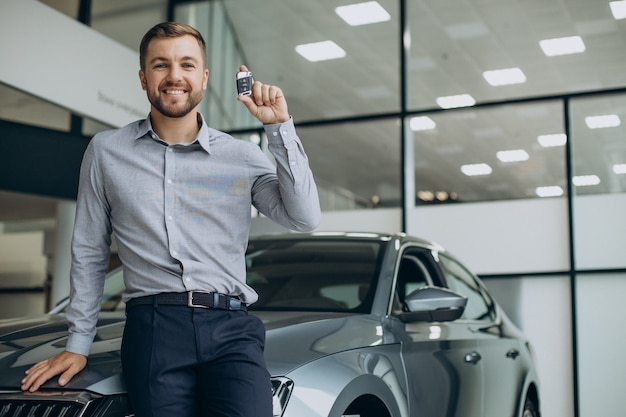 Junger mann, der autoschlüssel an seinem neuen auto hält
