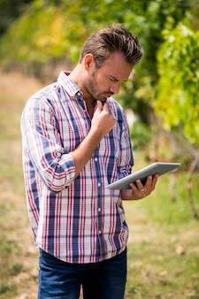 Junger mann, der digitale tablette am weinberg verwendet