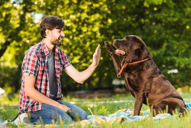 Junger mann, der seinem hund im park hoch fünf gibt