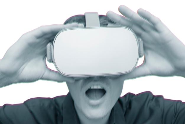 Junger mann der virtuellen realität.