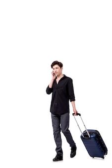 Junger mann im reisekonzept lokalisiert auf weiß