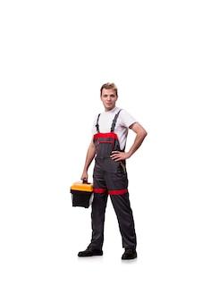 Junger mann mit dem toolkitwerkzeugkasten lokalisiert auf weiß