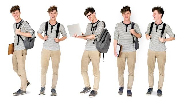 Junger mann student people gesture studio portrait isolated