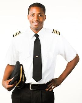 Junger pilot, isoliert auf weiss