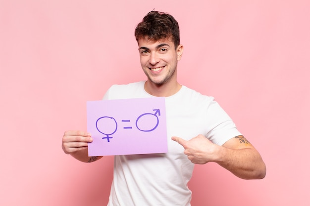 Junger schöner mann, feminismuskonzept