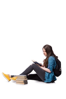 Junger student, der für schulprüfungen sich vorbereitet
