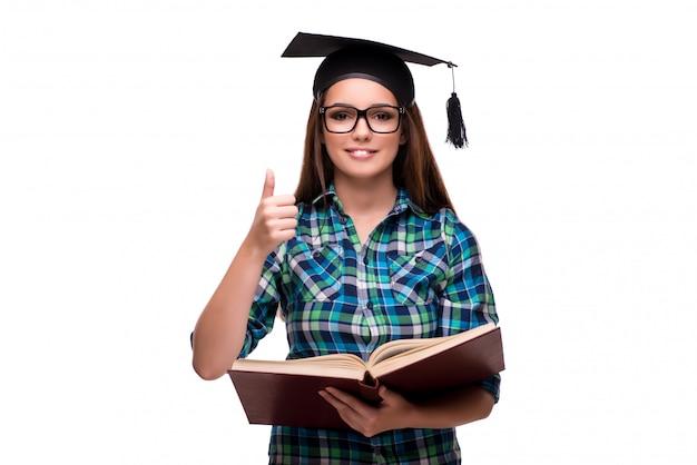 Junger student lokalisiert auf dem weißen hintergrund