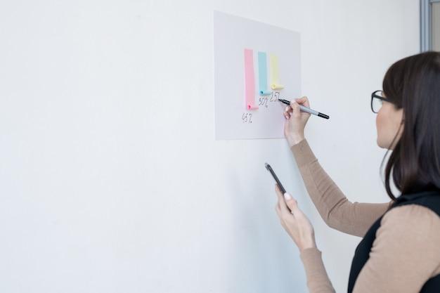 Junger weiblicher ökonom, der präsentation des finanzdiagramms beim stehen vor whiteboard im büro macht