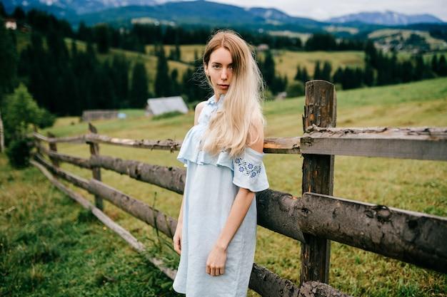 Junges attraktives elegantes blondes mädchen im blauen romantischen kleid, das nahe zaun in der landschaft aufwirft