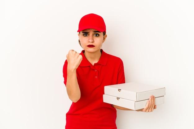 Junges dünnes arabisches pizzabotenmädchen überrascht und schockiert.