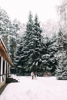 Junges ehepaar mit einem hund, der in einem schneebedeckten erholungszentrum geht