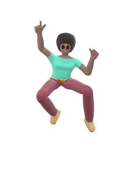 Junges fröhliches afrikanisches mädchen tanzt und springt mit erhobenen armen