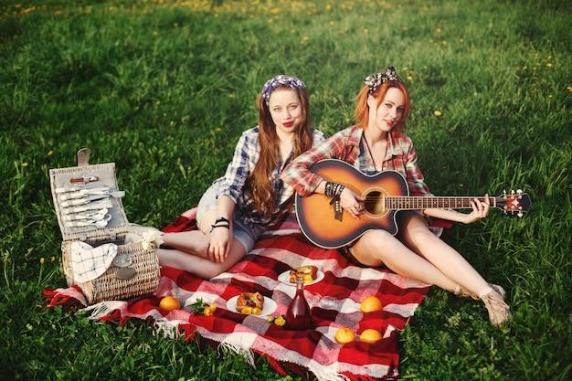 Junges glückliches mädchen zwei auf picknick