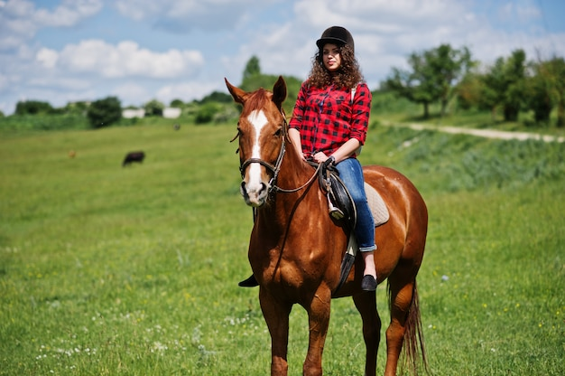 Junges hübsches mädchen, das ein pferd auf ein feld am sonnigen tag reitet.