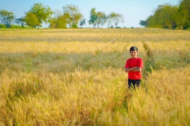 Junges indisches kind, das am weizenfeld, ländliches indien spielt