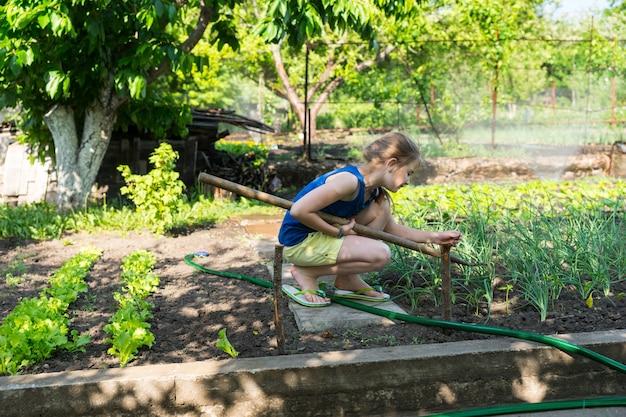 Junges mädchen, das im garten arbeitet und sich um die jungen pflanzen im gemüsegarten in einem hinterhof kümmert