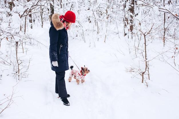 Junges mädchen geht in den unteren wäldern im winter mit hund, der einen weihnachtspullover trägt