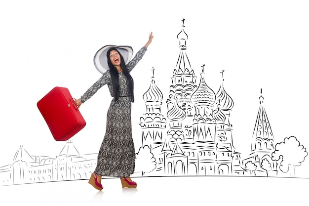 Junges mädchen im konzept des tourismus nach russland