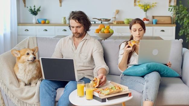 Junges paar sitzt auf der couch zusammen, isst eine pizza und arbeitet mit einem laptop. nahe dem sitzen eines netten hundes. hübsches paar, das im hellen gemütlichen zimmer sitzt.