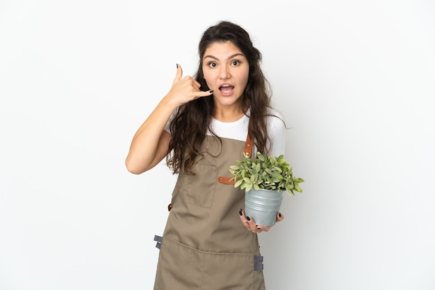 Junges russisches gärtnermädchen, das eine pflanze lokalisiert, die telefongeste macht