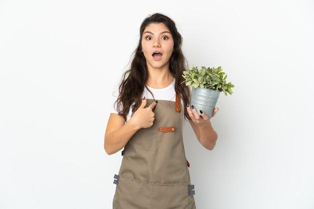 Junges russisches gärtnermädchen, das eine pflanze lokalisiert mit überraschungsgesichtsausdruck hält