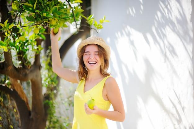 Junges schönes mädchen, das frische reife kalke oder zitronen im sonnigen baumgarten in italien auswählt. glücklicher weiblicher landwirt, der im obstgarten arbeitet
