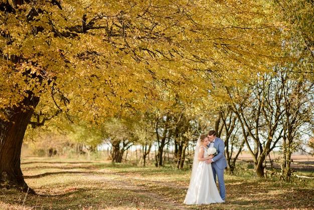 Junges schönes paar, das in ihren brautkleidern im herbstpark umarmt.