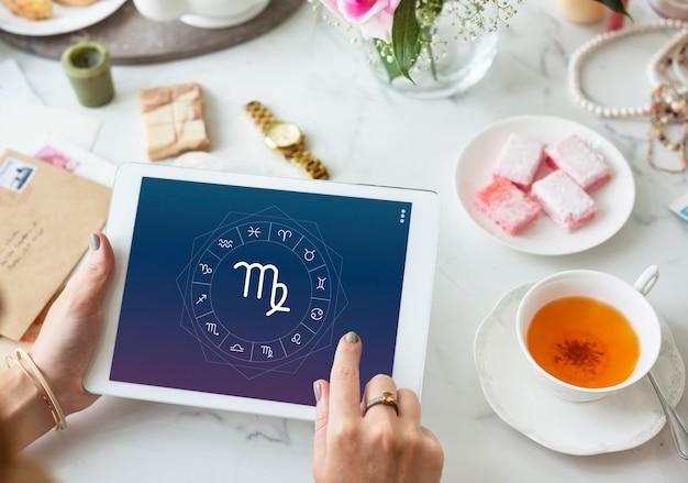 Jungfrau symbol horoskop sternzeichen glück grafikkonzept