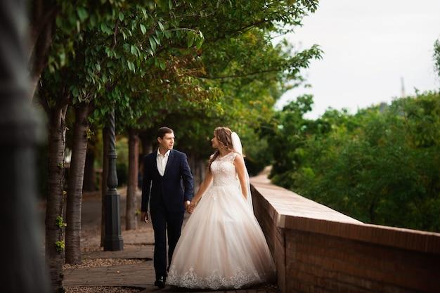 Jungvermählten, die in den park gehen. glückliche luxushochzeitspaare, die unter bäumen gehen und lächeln