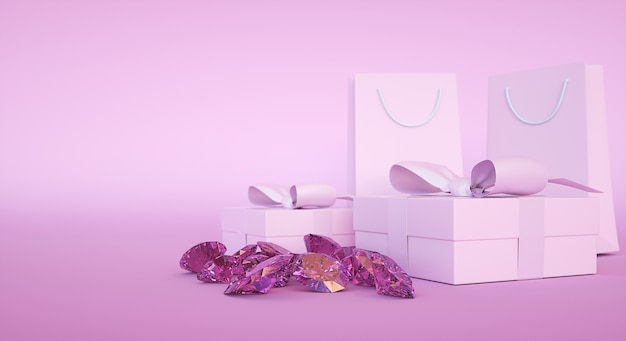 Juweliergeschäftsgebäude, geschenkbox und papiertüte, edelsteine und diamanten. 3d-illustration
