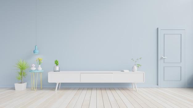 Kabinett fernsehen auf dem bretterboden im modernen wohnzimmer, wiedergabe 3d