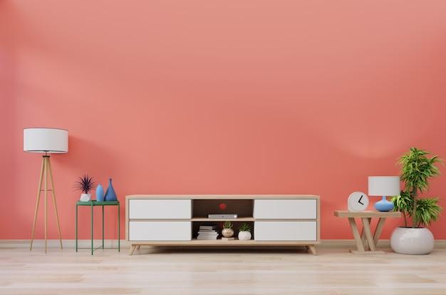 Kabinett fernsehen im modernen raum mit dekoration auf hölzernem lebendem korallenrotem farbwandhintergrund, wiedergabe 3d