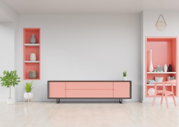 Kabinett fernsehen im modernen wohnzimmer mit stuhl, wandregal und anlage auf weißem wandhintergrund