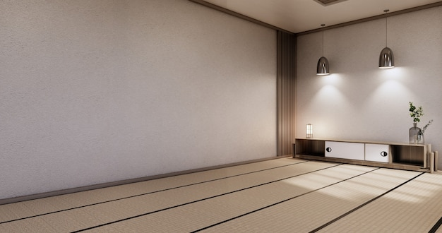 Kabinett-holzdesign, zen-raum-interieur, moderner japanischer stil, dekoration. 3d-rendering