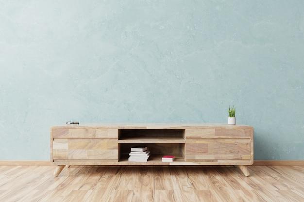 Kabinett im modernen leeren raum, blaue wand.