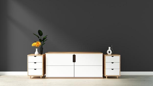 Kabinett im modernen leeren raum, schwarze blaue wand auf bretterboden, wiedergabe 3d