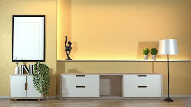Kabinett im modernen zenwohnzimmer mit decoraion zenart auf verstecktem licht des gelben wanddesigns.