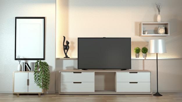 Kabinett im modernen zenwohnzimmer mit dekorationszenart auf verstecktem licht der weißen wandgestaltung.