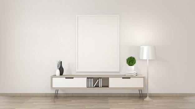 Kabinett im zenwohnzimmer auf weißer wand, wiedergabe 3d